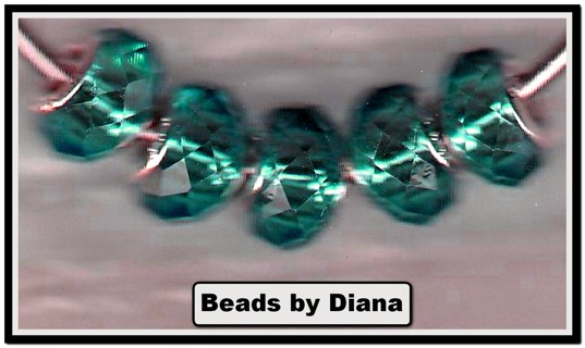 5pc Euro .925 Teal Crystal Faceted Beads (PLEASE READ DESCRIPTION)