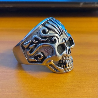Relist,preowned great Condition size 12 Stainless Steel skull Ring