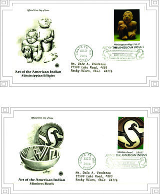 2 FDC (First Day Covers)~'Art of the American Indian' 2004