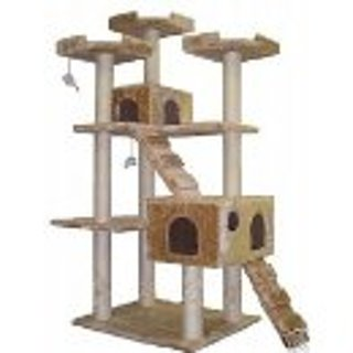 =^.^= Go Pet Club Cat Tree F2040 - Beige - 72 in.