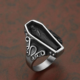 [GIN FOR FREE SHIPPING] Silver&Black Coffin Skeleton 316L Stainless Steel Ring