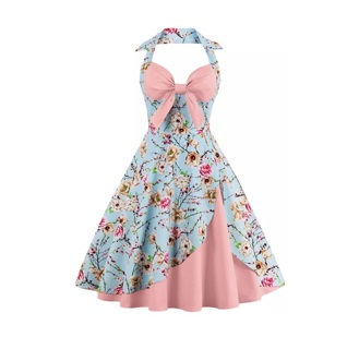 Retro Vintage 50s 60s style Floral Dress (Free shipping )