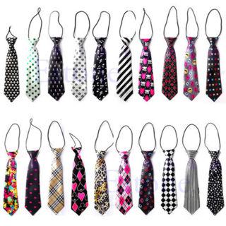 Girls Boys Fashion Elastic Tie 30 Styles Wedding Party Necktie Children Kids