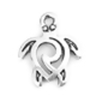 Two Antique Silver Sea Turtle with Hollow Swirl Design Charm - 16x12mm