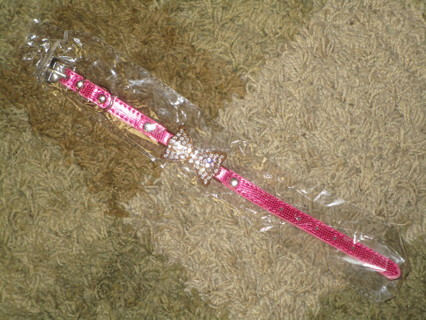 brand new dog collar pink with cute faux diamond bow