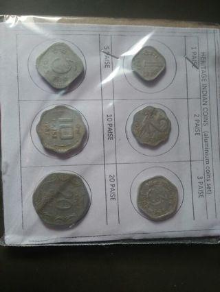6 indian Aluminium Coins