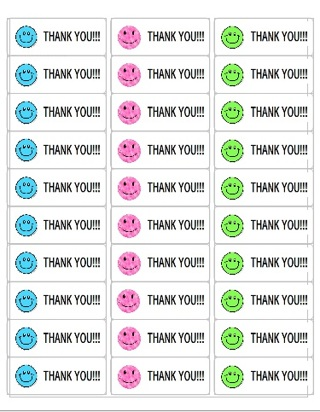 SMILEY FACE THANK YOU STICKERS - 3 SHEETS - FREE SHPG :D #2