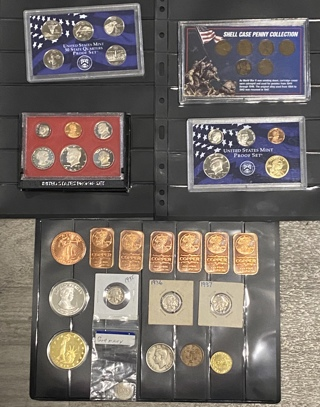 Huge!!!!  Proof Sets, 7 ounces of copper, wheat cents, Buffalo nickels, Ronald Reagan Coin and more