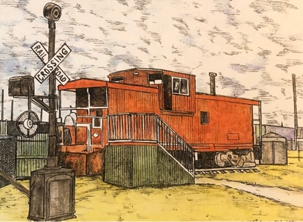 "Caboose - 5 x 7"" Art Card by artist Nina Struthers - GIN ONLY"