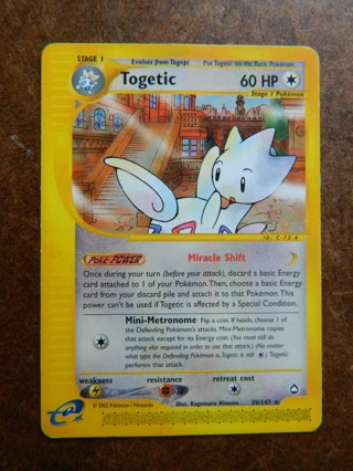 2002 Togetic 39/147 Pokemon Card RARE Aquapolis Single - FREE Shipping!