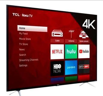 "TLC 65"" 4k UHD + Roku Smart Flat Screen TV, Brand New Seal, Read Description Below!"