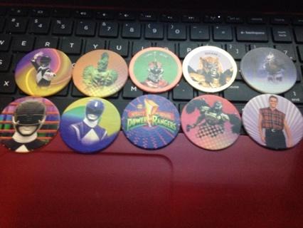Free: Power Rangers Rare Pogs! Lot of 10! Black Ranger, Blue