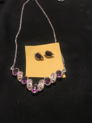 Avon Silvertone Purple Rhinestone Pendant Necklace and Earrings