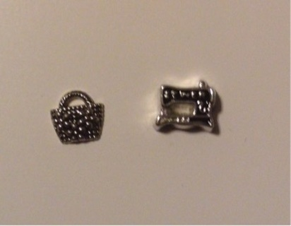 Sewing Machine and Basket Floating Charms for Living Lockets Origami Owl