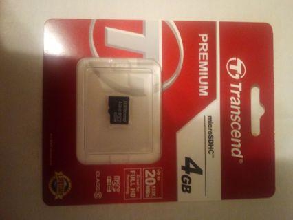 Transcend 4GB micro SDHC class 10 card