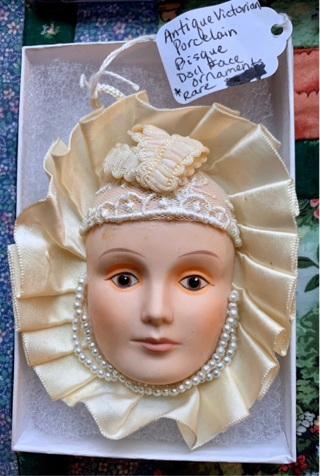 Antique Victorian Porcelain Bisque Doll Face Ornament RARE Handcrafted and Handpainted