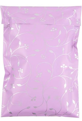 """6""""x 9"""" Poly Mailer (2) Flowers and Vines (Purple/Silver)"""