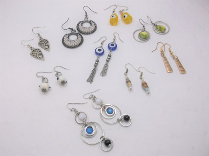 9 Pairs of Pre-Owned Earrings - Beaded Metal Rounds Eye Protection Religious