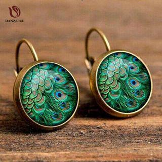 Bohemia Glass Cabochon Peacock Big Earring Women Fashion Ethnic Green