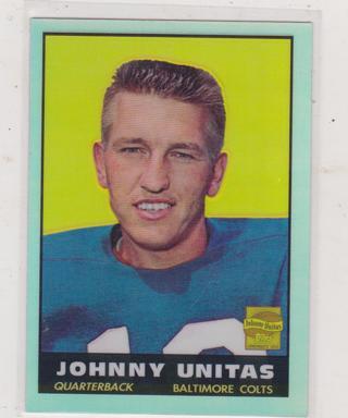 2000 topps johnny unitas refractor card #1