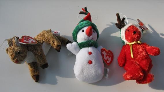 3 Mini Beanie Babies Christmas Bear Reindeer Snowman Girl Ornaments Gifts ee35c862b7c