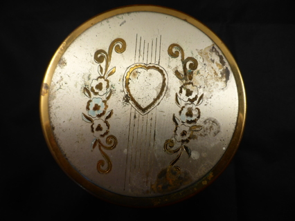 Vintage Make-up Container - Glass with Metal Lid - Heart & Flowers