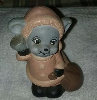 Santa Mouse Figurine Vintage