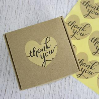 10 Heart Thank You Stickers