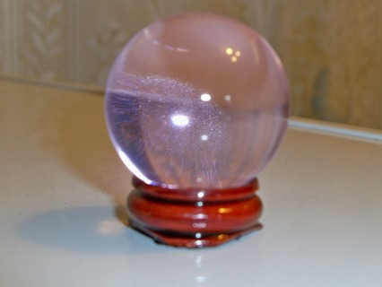 LIGHT PINK CRYSTAL BALL WITH WOOD STAND