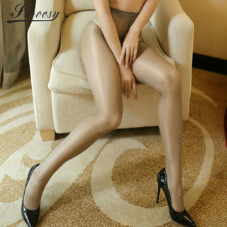 Cheap Quality 12 DEN Thin High Waist Shine Gloss Oil Stockings with Cotton Pad Pantyhose Sexy