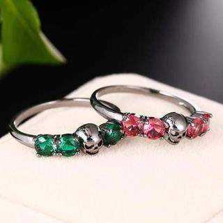 Black Gold Men/Women Style Purple Stone Cool Skull Ring Pink Green Cubic