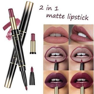 Women's Waterproof Matte Multicolor Double Ended Lip Liner and Lipstick Pencils