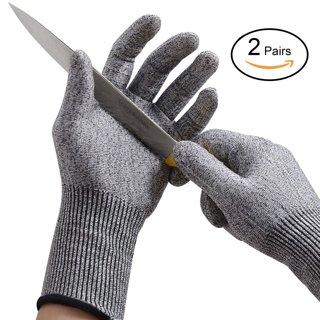 2 Pairs Cut Resistant Gloves Level 5 Protection  for Kitchen Cooking Cutting Yard