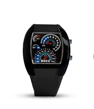 ⌚ Men Wrist Watch ⌚Car RPM Turbo LED Flash Dashboard Digital Dial Black FREE SHIPPING USA