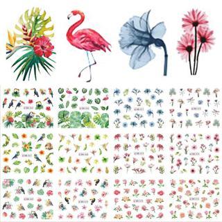 12 Designs Water Decals Slider Summer Jungle Flamingo Parrot Flora Watermark Nail Sticker Decorati