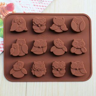 Silicone 12-Owl Cake Decorating Mould Candy Cookies Chocolate Baking Mold