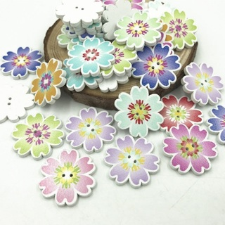 50Pcs Wooden Flowers Buttons Sewing Crafts Mix Color DIY Decoration Scrapbooking 25mm