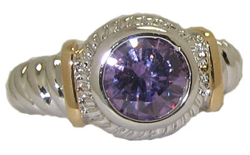 TWO TONE CABLE RING in MANY COLORS & SIZES 18 KARAT GOLD GREAT STYLISH JEWELRY!!!