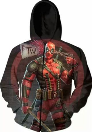 Custom Unisex LRG/XL Deadpool Marvel Long Sleeve Zipper Hoodie Jacket