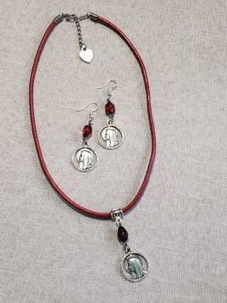 Hand made with love~ Blessed Virgin Mary, red~earrings & necklace