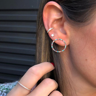 3 Pcs/Set Women Fashion Crystal Rhinestone Stars Round Geometric Silver Earring Set Charm Beach