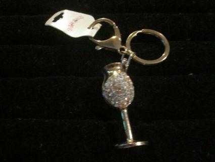 ✿ Gold Tone Crystal Wine Glass Keychain -NEW