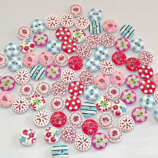 100PCs 15mm Round 2 Holes Mixed Wood Buttons Scrapbooking Wood Sewing Craft DIY
