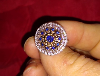 RING STERLING SILVER CUSTOM HAND MADE IN TURKEY WITH CRYSTALS BEAUTIFUL LOOK AT THE PHOTOS LOOK WOW!