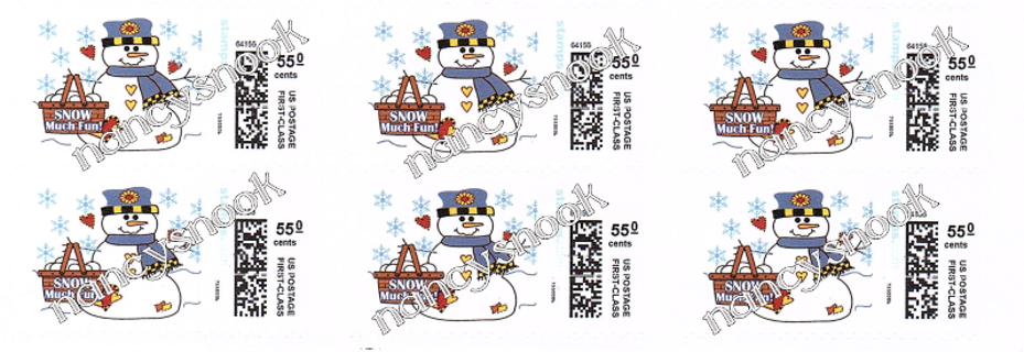 """6 count of Official USPS 55 cent postage stamps """"SNOWMAN"""""""