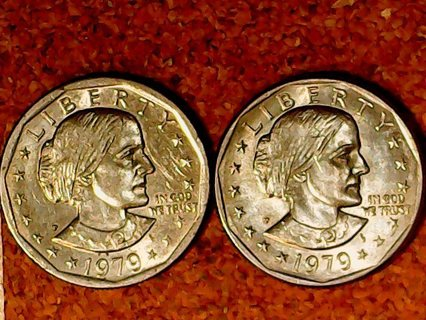 Two 1979P Susan B Anthony Wide Rim and Narrow Rim Dollar Coins! Face Value Starting Bid! LC-1