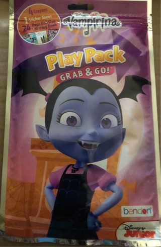 BNIP Disney Jr's, VAMPIRINA 'Grab n' Go' 5 Piece Play Pack. Crayons Stickers Coloring Book