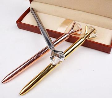 2018 Metal case ballpoint pen Carat diamond ring Crystal pen lady wedding office school supplies g