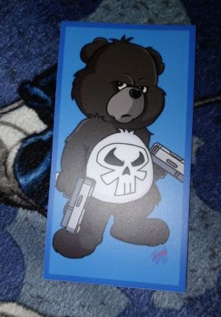 THE PUNISHER I DON'T CARE BEAR 3X3 INCH MATTE PRINTED WATERPROOF STICKER