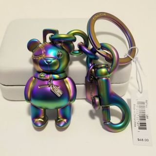♥️ NWT Authentic COACH Hologram Oilslick Teddy Bear Keychain Keyfob♥️